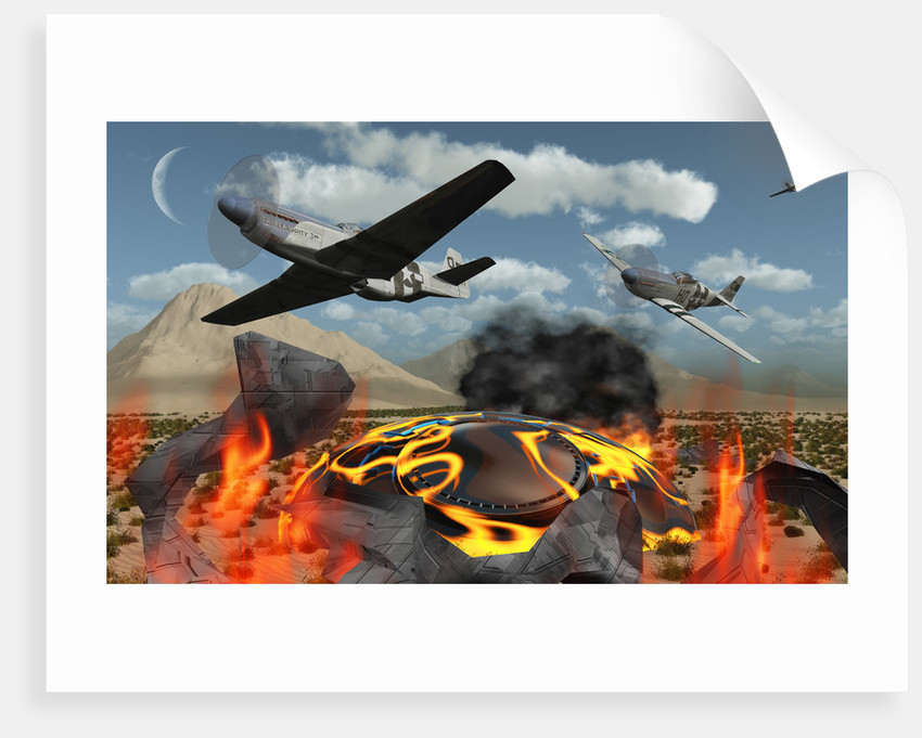 American P-51 Mustang fighter planes destroy a UFO. by Mark Stevenson