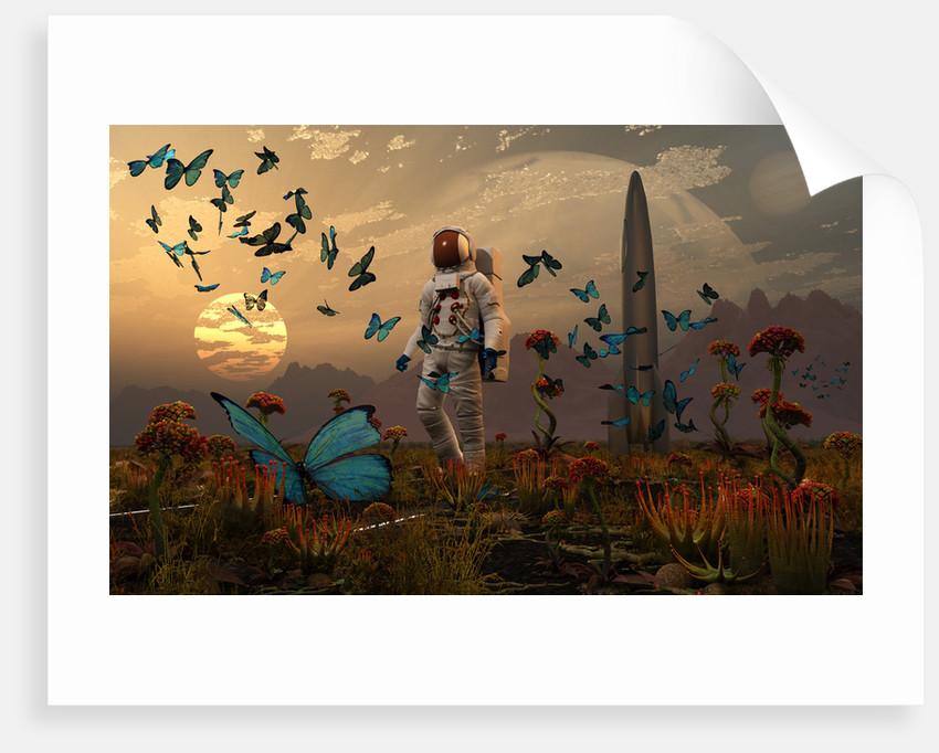 An astronaut is greeted by a swarm of butterflies on an alien world. by Mark Stevenson