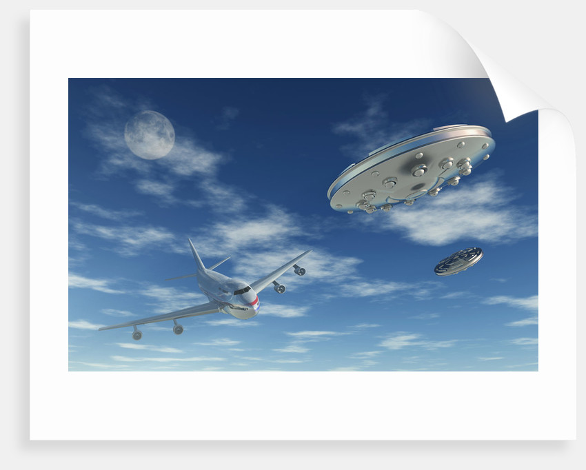 A pair of silver metallic disc shaped UFO's buzzing a Boeing 747 commerical airliner. by Mark Stevenson