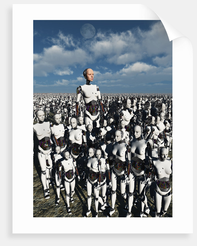 A lone android with a human flesh colored face amongst a crowd of robots. by Mark Stevenson