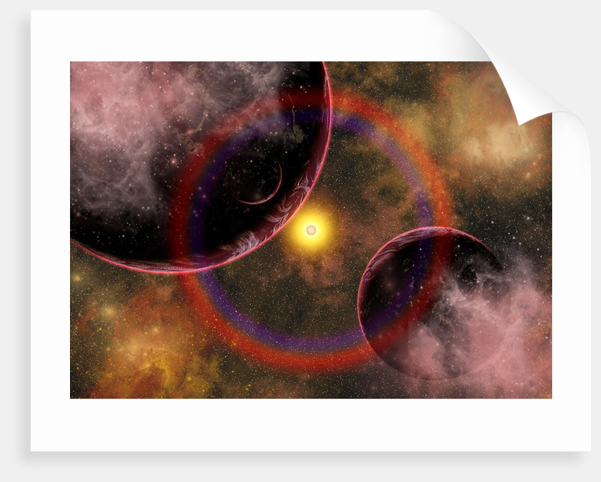 Alien planets located in a vast colorful gaseous nebula. by Mark Stevenson