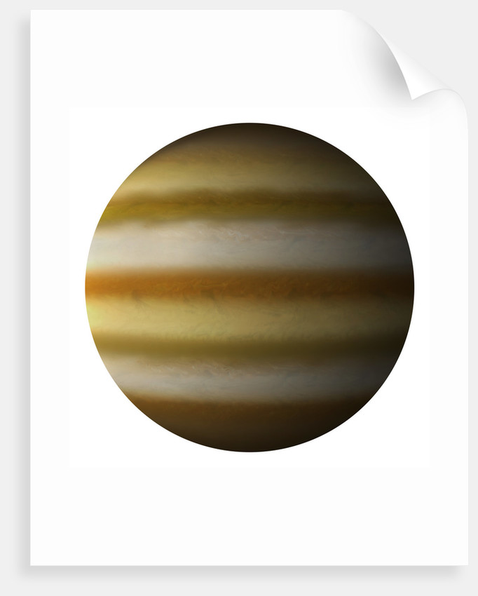 Artist's depiction of a gas giant planet on a white background. by Marc Ward