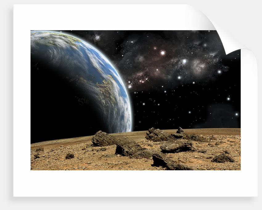 An Earth-like planet rises over a rocky and barren alien world. by Marc Ward