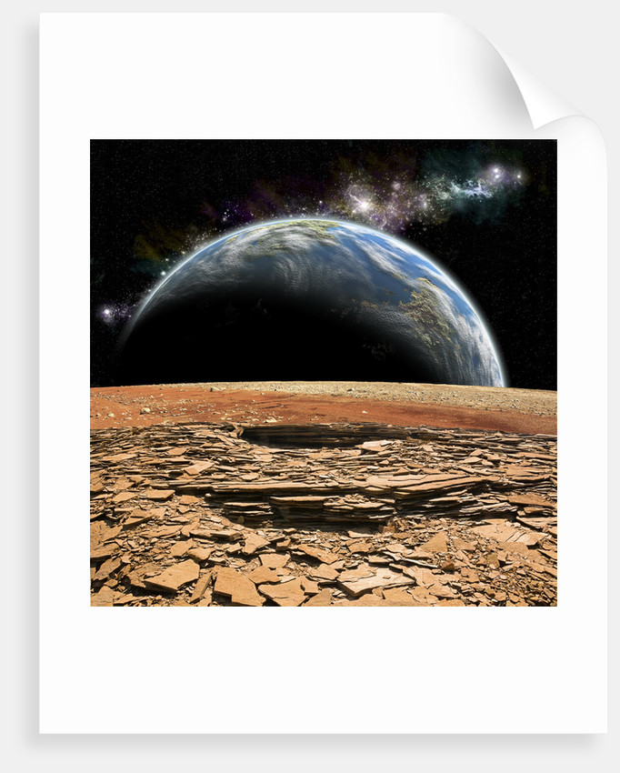 An Earth-like planet rises over a rocky and barren alien moon. by Marc Ward