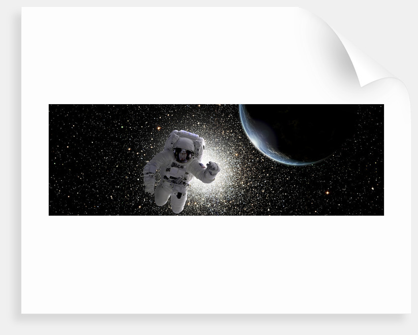 Astronaut floating in deep space with an Earth-like planet in background. by Marc Ward