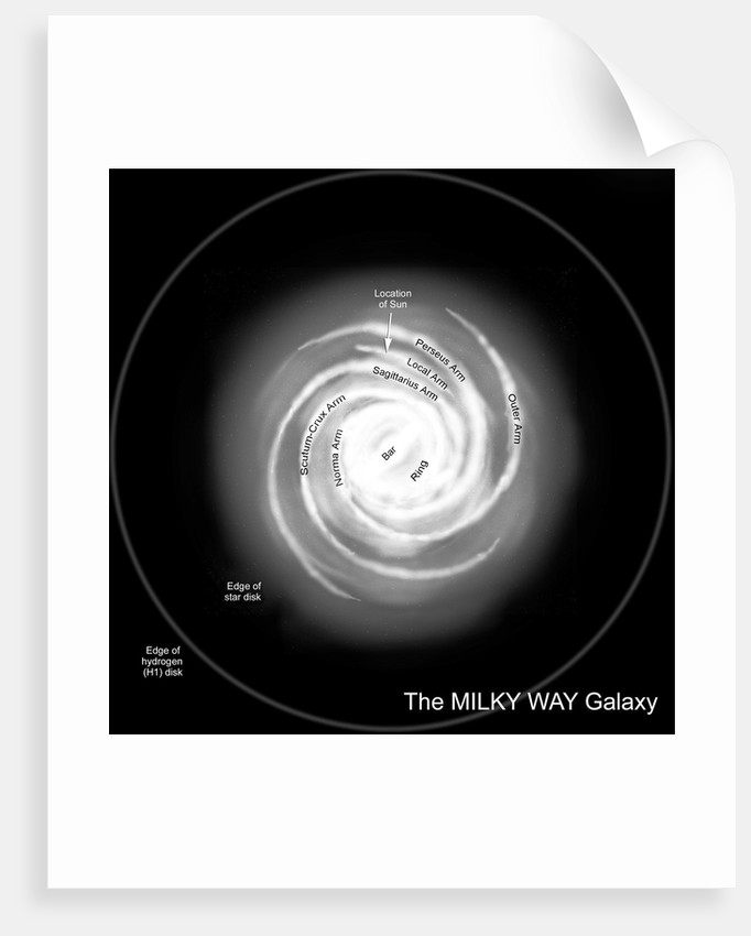 A diagram of the Milky Way, depicting its various named parts. by Ron Miller