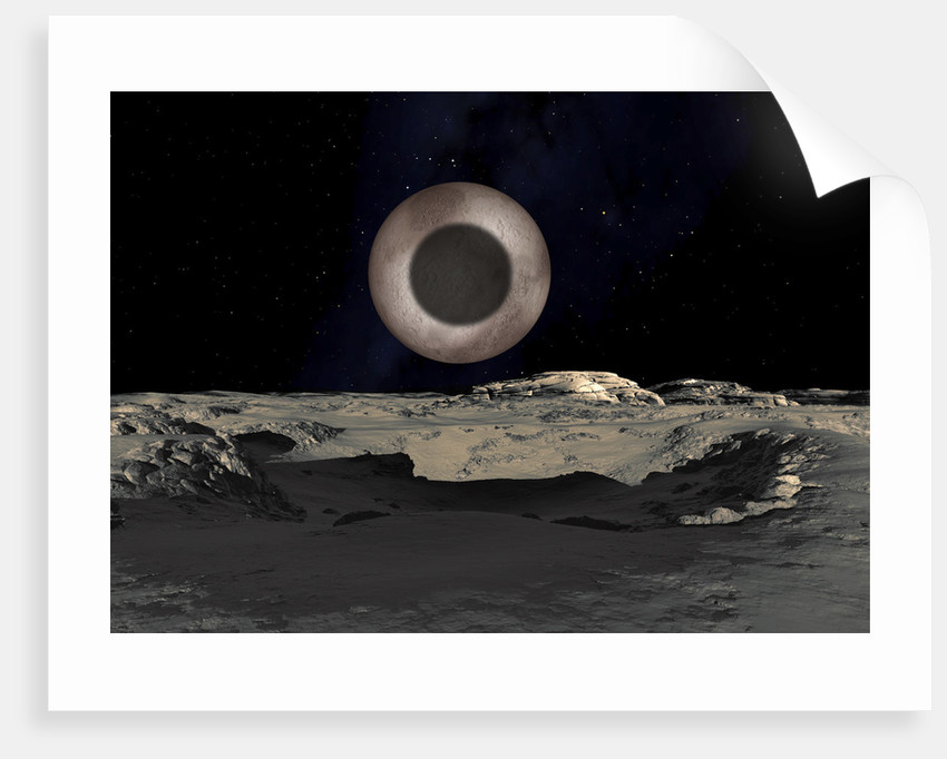 The Shadow of Charon on Pluto by Ron Miller