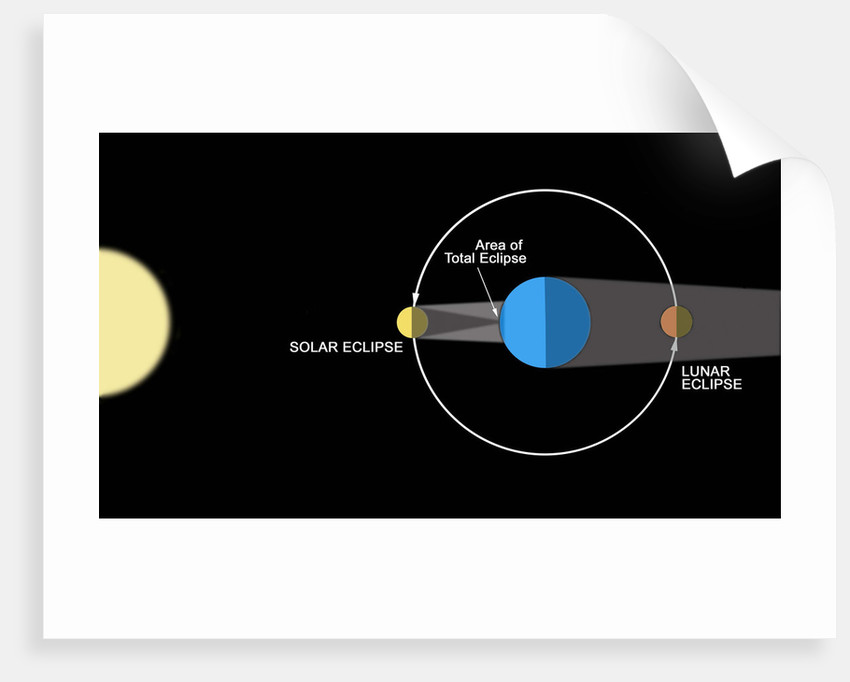 A diagram illustrating how eclipses are created. by Ron Miller