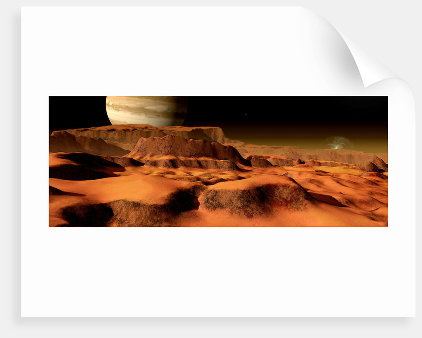 A panorama of the strange, mesa-like mountains on Io. by Ron Miller
