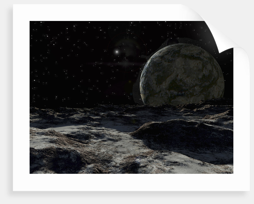 A view from the surface of a large Kuiper Belt Object. by Ron Miller