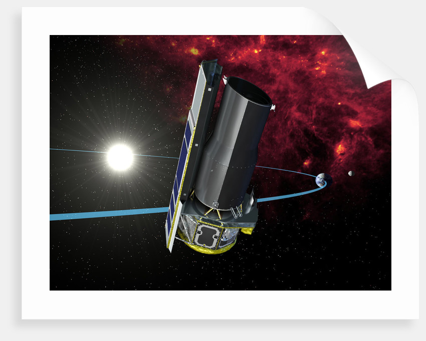 Artists rendition of Spitzer in its heliocentric orbit. by Anonymous