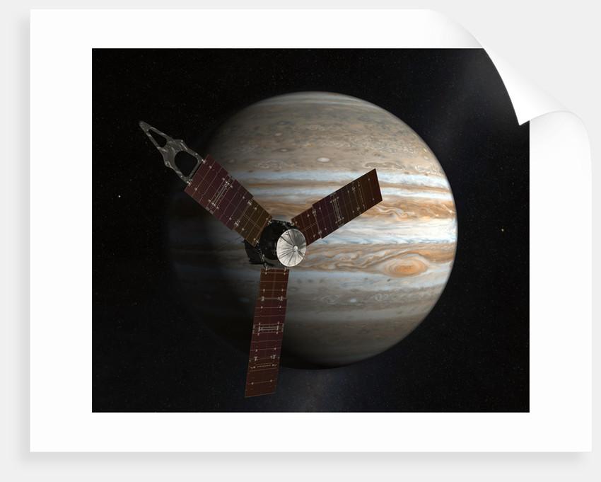 Artist's concept of the Juno spacecraft in orbit around Jupiter. by Anonymous