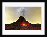 An active volcano spews out hot red lava and smoke. by Corey Ford