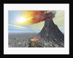A volcano bursts forth with hot lava and billowing smoke. by Corey Ford