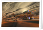 Spacecraft fly among spacial eddies in deep space. by Corey Ford