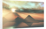Sunrays shine down on three pyramids along the Nile River on the Giza Plateau. by Corey Ford