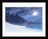 A cold winter night on this beach has a full moon. by Corey Ford