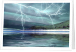 Thunderclouds and lightning move over the mountains and a nearby lake. by Corey Ford