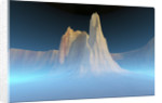 A canyon mountain is surrounded by mysterious blue mist. by Corey Ford