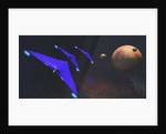Three spaceships from Earth travel to a planet near the Crab Nebula. by Corey Ford
