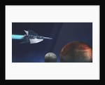 A starship from Earth travels to a red planet. by Corey Ford