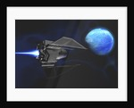 A small spacecraft from Earth reaches a water planet after many light years. by Corey Ford