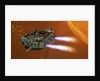 The Ironstar battleship flies near a large Sun. by Corey Ford