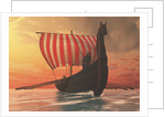 A Viking longboat sails to new shores. by Corey Ford