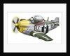 Cartoon illustration of a P-51 Mustang. by Anonymous
