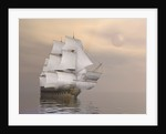 Beautiful old merchant ship sailing on quiet waters. by Elena Duvernay