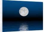 Beautiful full moon against a deep blue sky over the ocean. by Elena Duvernay