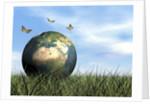Three butterflies flying around Earth globe. by Elena Duvernay