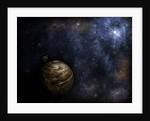 Illustration of a bright star illuminating a nearby planet. by Vladislav Gerasimov