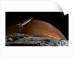 A spaceship in orbit over Mars moon, Phobos, with the red planet Mars in the background. by Frank Hettick