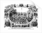 Digitally restored Civil War print of The Fifteenth Amendment and Its Results. by John Parrot