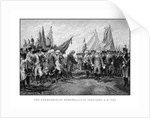 Vintage Revolutionary War print showing the surrender of British troops. by John Parrot