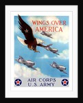 World War II poster of a bald eagle flying in the sky with fighter planes by John Parrot