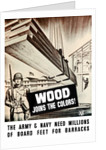 Vintage World War II poster showing Army troops building barracks. by John Parrot