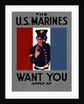 Vintage World War One poster of a Marine wearing his dress blues. by John Parrot