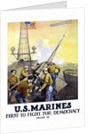 World War One poster of Marines firing artillery rounds, on board a ship at sea. by John Parrot