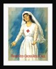 Vintage World War One poster of a Red Cross nurse holding open her arms. by John Parrot