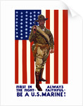 Vintage World War One poster of a US Marine holding his sidearm by John Parrot