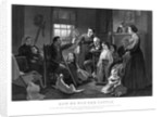 Vintage Civil War print of a Union soldier recounting a battle story to his family. by John Parrot