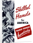 World War II poster showing many hands doing various tasks. by John Parrot