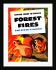 Vintage WW2 poster showing a family of squirrels surrounded by a forest fire. by John Parrot