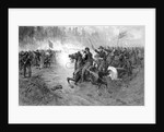 Civil War print of Union cavalry soldiers charging a Confederate firing line. by John Parrot