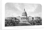 Vintage architecture print of The United States Capitol Building. by John Parrot