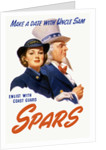 World War II poster of a female Coast Guard Cadet and Uncle Sam. by John Parrot