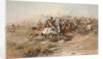 Digitally restored American history print of the Battle of Little Bighorn. by John Parrot