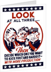 World War II propaganda poster featuring Hitler, Mussolini, and Hirohito. by John Parrot